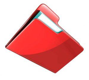 Красная папка с бумагами